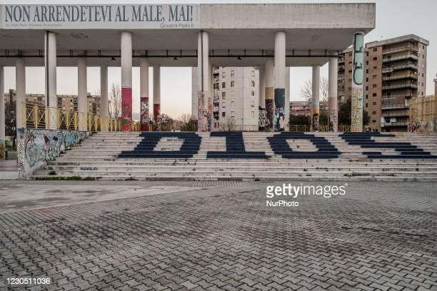 The inscription D10S in reference to Argentinean footballer Diego Armando Maradona in Ciro Esposito Square in Scampia a district of the Metropolitan...