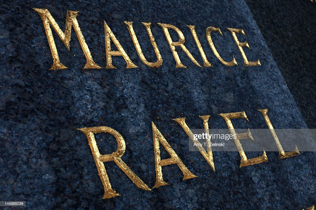 The inscription on the granite gravestone of French composer Maurice Ravel (1875 - 1937) at Levallois-Perret Cemetery, in the northwestern suburbs of Paris, 25th April 2012. Ravel is buried with his parents.