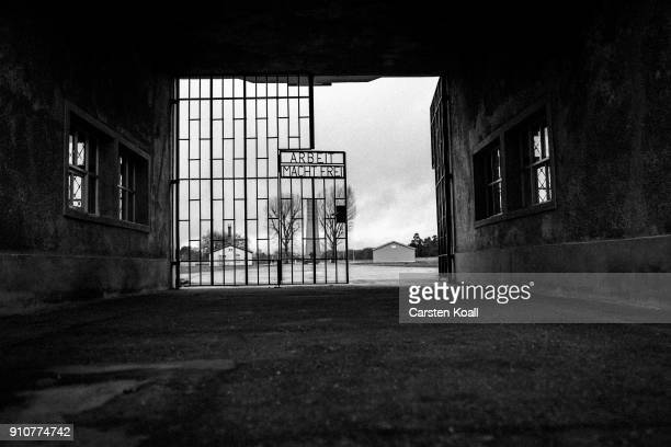 The inscription that reads 'Arbeit Macht Frei' which means 'Work Leads To Freedom' at a gate at the Sachsenhausen concentration camp memorial on...