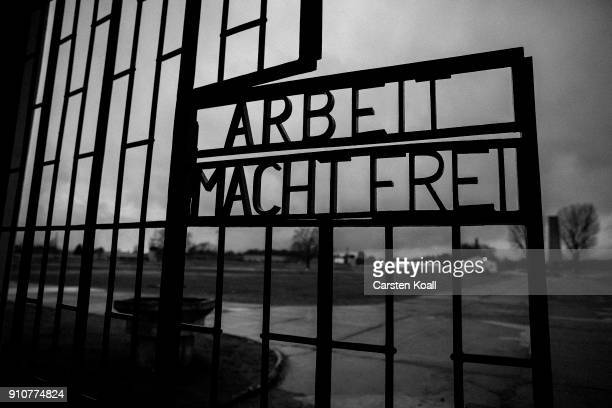 The inscription that reads: 'Arbeit Macht Frei,' which means 'Work Leads To Freedom,' at a gate at the Sachsenhausen concentration camp memorial on...