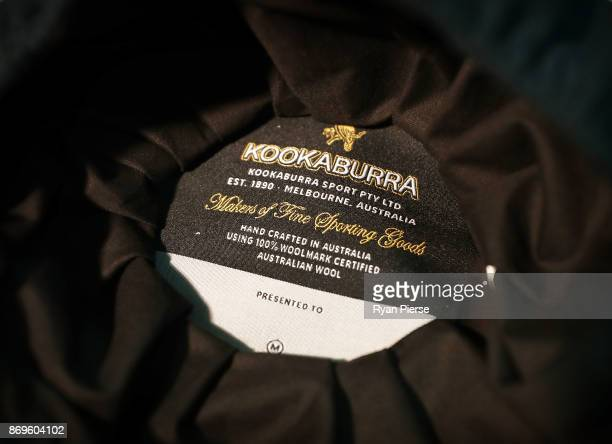 The inside of a completed Australian Baggy Green Cap is seen during the making of the Kookaburra Australian Baggy Green Cap on October 31 2017 in...