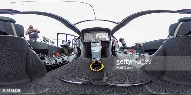The inside of a full size model of a F35 cockpit is seen at RAF Fairford on the press preview day ahead of the Royal International Air Tattoo which...