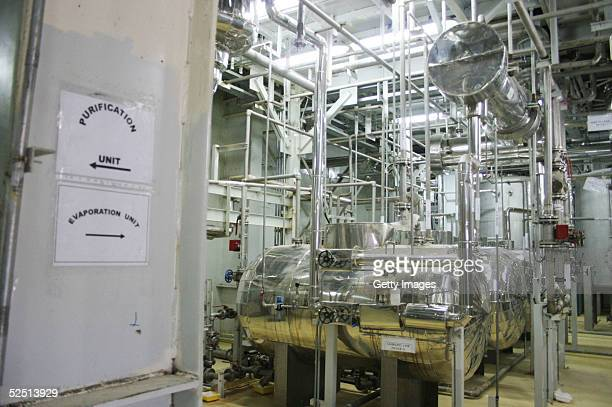 The inside of a uranium conversion facility producing unit is seen March 30, 2005 just outside the city of Isfahan, about 254 miles , south of...