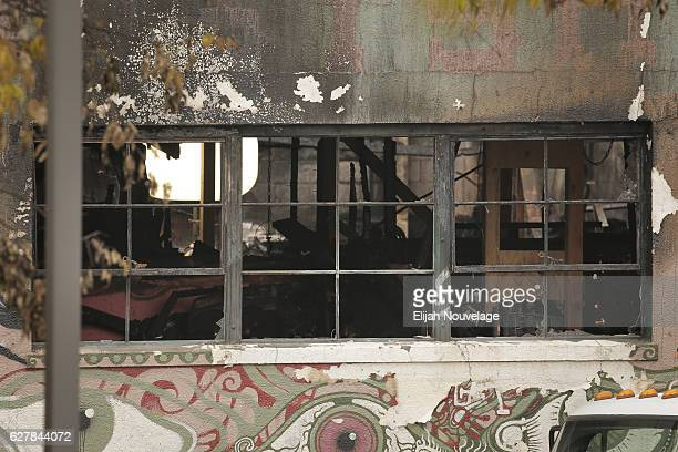 The inside of a warehouse where a fire claimed the lives of at least thirtysix people is seen on December 5 2016 in Oakland California The fire took...