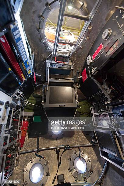 The inside of French Research Institute for Exploration of the Sea Nautile a manned submarine designed for observing ocean floors is pictured prior...
