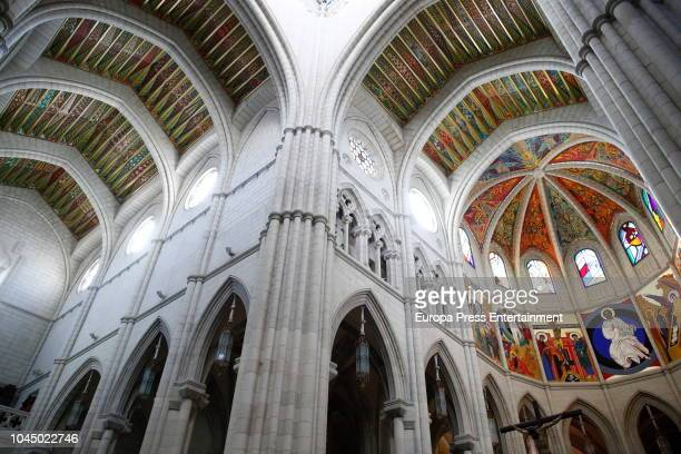 The inside of La Almudena cathedral on October 3 2018 in Madrid Spain