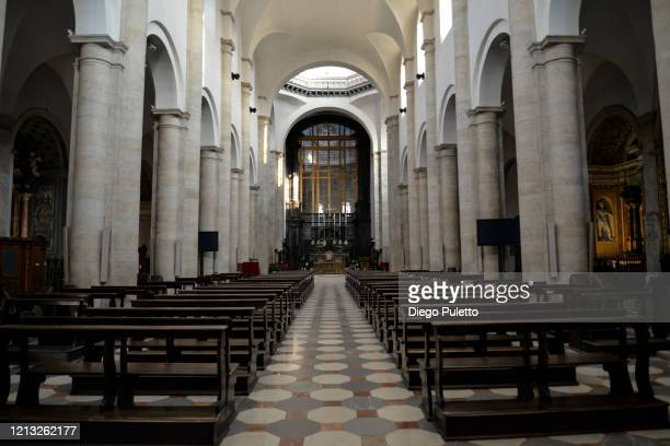The inside of metropolitan cathedral of San Giovanni Battista looks deserted during the nationwide lockdown to control COVID19 spread on March 17...