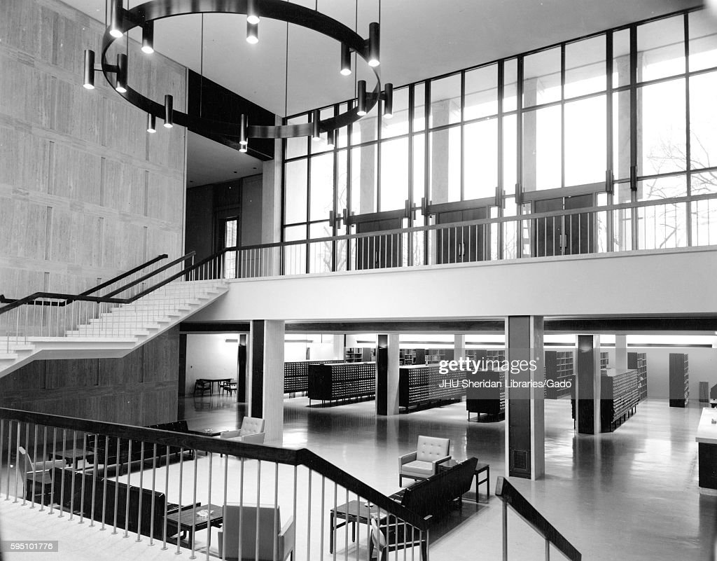 The inside of Milton S Eisenhower Library at its original design, including  the open foyer