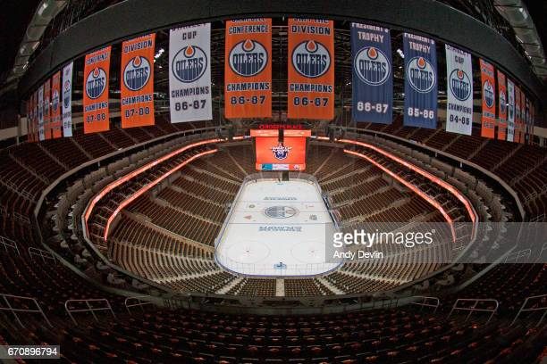 The inside of Rogers Place prior to Game Five of the Western Conference First Round during the 2017 NHL Stanley Cup Playoffs between the Edmonton...
