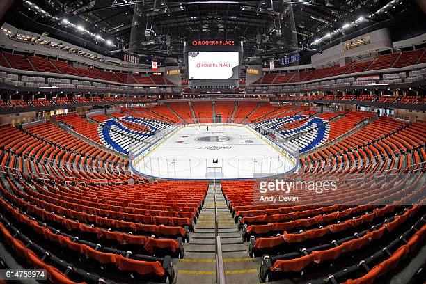 The inside of Rogers Place prior to the season opener between the Edmonton Oilers and the Calgary Flames on October 12 2016 in Edmonton Alberta Canada