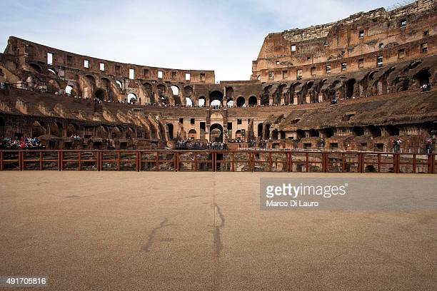 The inside of the Colosseum is seen on October 8 2013 in Rome Italy The plan to restore Rome's nearly 2000yearold Colosseum which attracts up to two...