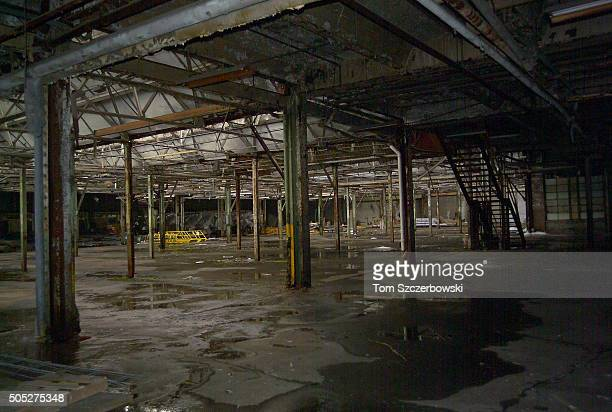 The inside of the Highland Park Plant where Ford Model T cars were mass produced now sits abandoned on February 29 2004 in Detroit Michigan