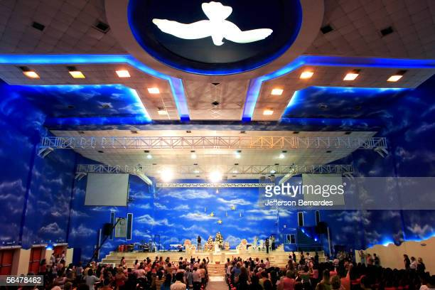 The inside of the international headquarters of the Evangelical Church Renascer em Cristo is seen on December 21 2005 in Sao Paulo Brazil Brazilan...