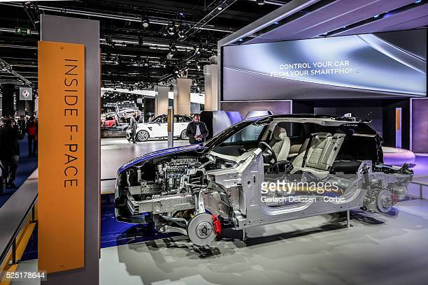 The inside of the Jaguar F-Pace on display during the 66. Internationale Automobil-Ausstellung 2015 in Frankfurt am Main, Germany on September 16,...