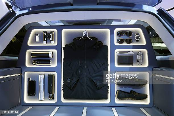 The inside of the rear of the Lincoln Navigator Concept is shown at the 2017 North American International Auto Show on January 10, 2017 in Detroit,...