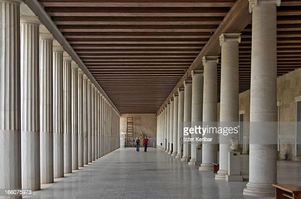 The inside of the restored Stoa of Attalos.