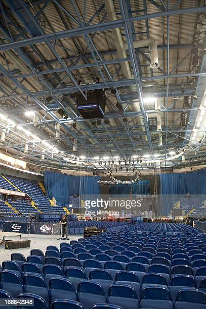 The inside of the venue as crew break down the stage setup after Meat Loaf canceled a sold out show an hour and a half before the doors were due to...