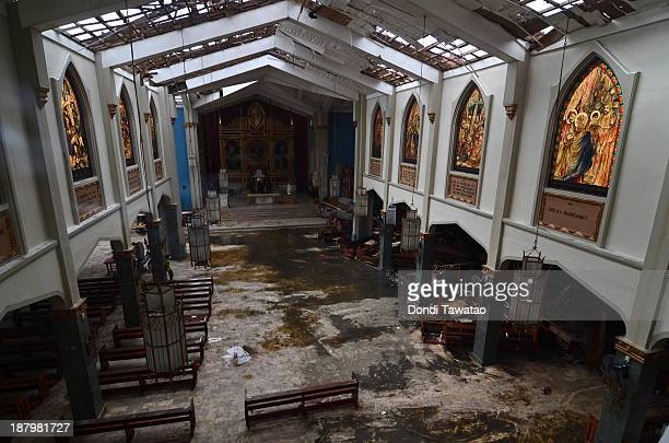 The insie of a damaged church in Tacloban City on November 14 2013 in Tacloban Philippines Typhoon Haiyan which ripped through Philippines over the...