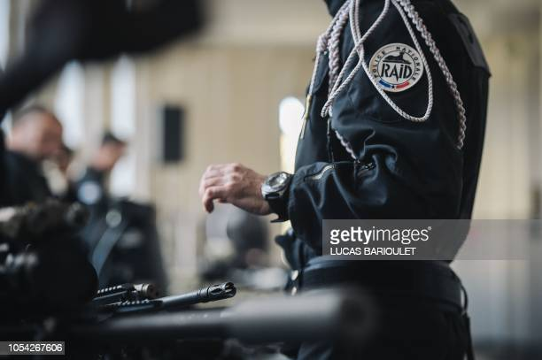 The insigna of French Research Assistance Intervention Deterrence Police Unit is seen during a visit of French Interior Minister at the RAID...