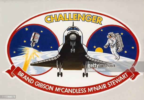The insignia of NASA's STS41B mission on the space shuttle 'Challenger' November 1983 From left to right the patch depicts the deployment of a PAMD...