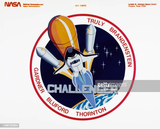 The insignia of NASA's STS-8 mission featuring the Space Shuttle Challenger and the names of her crew, astronauts Richard H Truly , Daniel C...