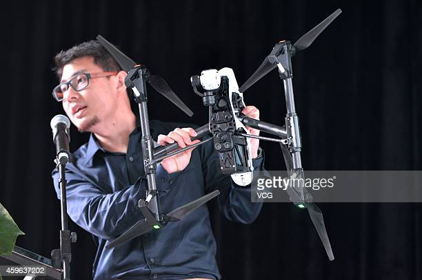 The 'Inspire 1' drone is presented on November 26 2014 in Shenzhen Guangdong province of China The Inspire 1 drone which carries a 4k resolution...