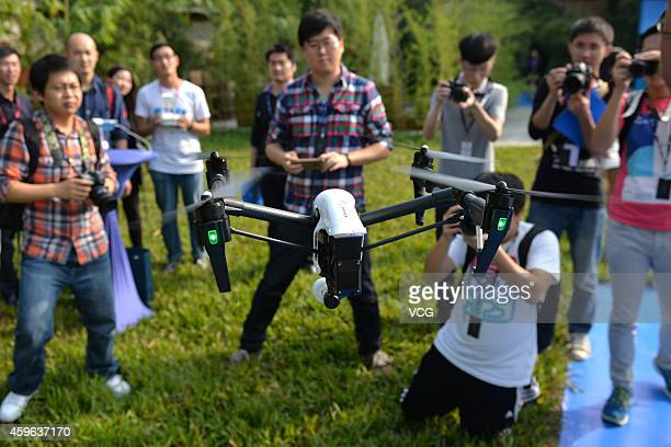 The 'Inspire 1' drone is presented outdoors on November 26 2014 in Shenzhen Guangdong province of China The Inspire 1 drone which carries a 4k...