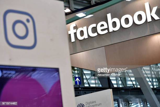 The Instagram and Facebook logos are displayed at the 2018 CeBIT technology trade fair on June 12 2018 in Hanover Germany The 2018 CeBIT is running...
