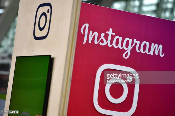 The Instagram logo is displayed at the 2018 CeBIT technology trade fair on June 12 2018 in Hanover Germany The 2018 CeBIT is running from June 1115