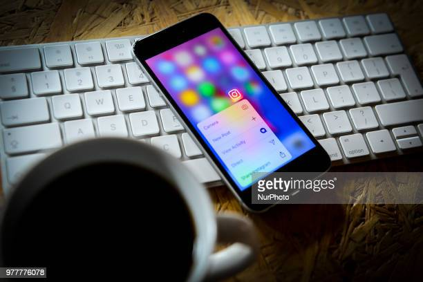 The Instagram photo sharing application is seen on an iPhone in this photo illustration on June 18 2018 in Warsaw Poland