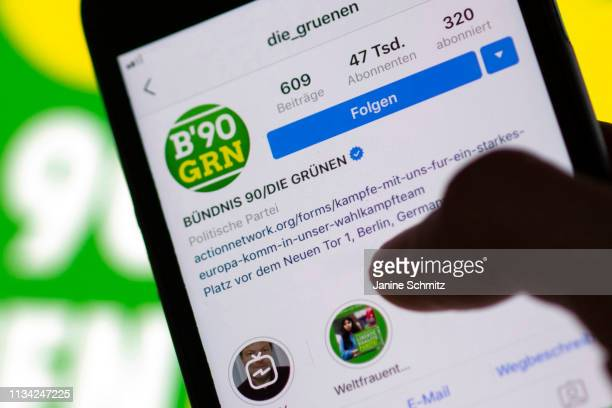 The instagram profile of the Green Party Buendnis 90 / Die Gruenen is shown on a smartphone on March 11 2019 in Berlin Germany