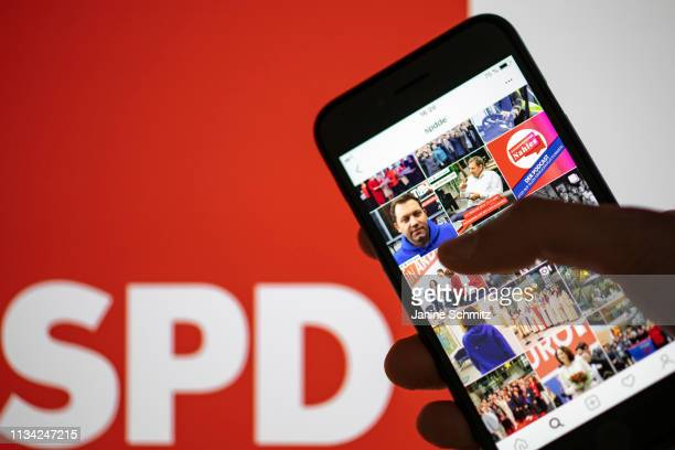 The instagram profile of the SPD is shown on a smartphone on March 11 2019 in Berlin Germany