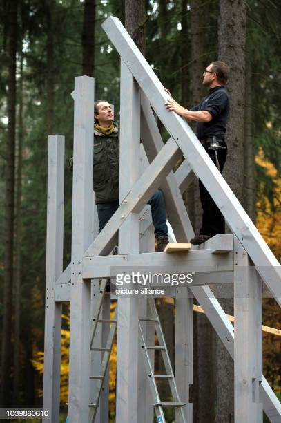 The installation 'Drei Bruecken' of the painter graphic artist and sculptor Olaf Holzapfel is pictured in the heather of Dresden Germany 06 November...