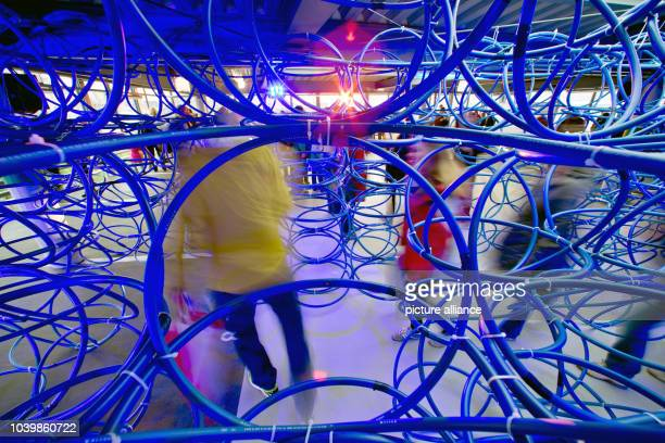 The installation 'Gesprengte Ketten' made of 700 hulahoops is presented on occasion of the Blaue Nacht arts and culture event PhotoDANIEL...