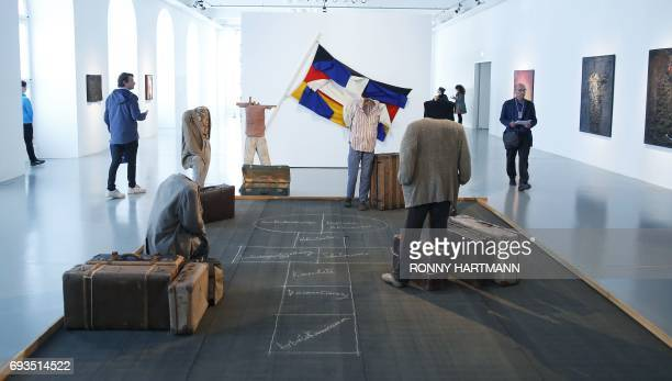 The installation 'Hopscotch' by Greek artist Vlassis Caniaris is pictured at the Documenta 14 art exhibition in Kassel on June 7 2017 Documenta 14...