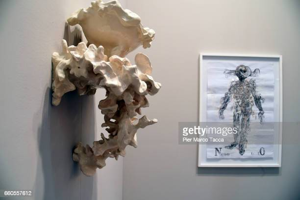 The installation of Sissi 'Motivi Ossei' on enameled ceramics is displayed during the Miart Fair 2017 at Fiera Milano City on March 30 2017 in Milan...