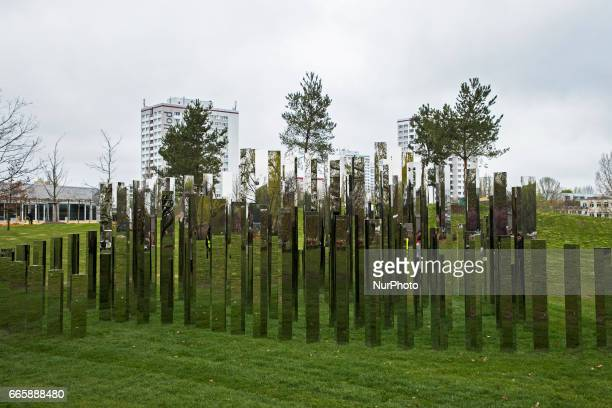 The installation 'Reflecting Gardens' of Danish artist Jeppe Hein is pictured during a press preview of the IGA 2017 in Berlin Germany on April 7...