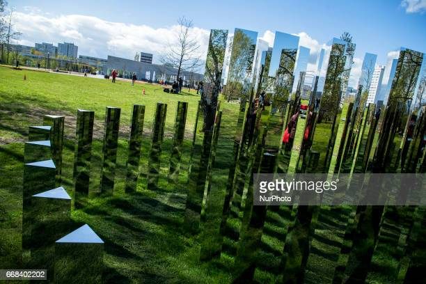 The installation 'Reflecting Gardens' of Danish artist Jeppe Hein is pictured during the opening of the IGA 2017 in Berlin Germany on April 13 2017...