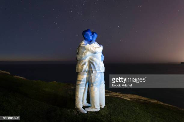 The installation 'Under One Sky' by Stephan Marr is pictured before dawn at Sculptures By The Sea at Bondi Beach on October 19 2017 in Sydney...