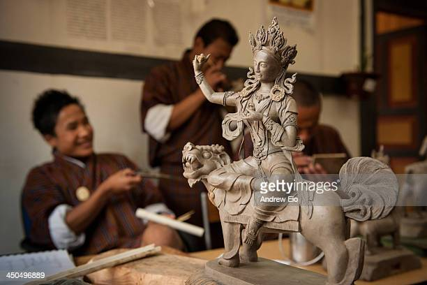 The Institute for Zorig Chusum where students undertake a six-year course on the 13 traditional arts and crafts of Bhutan, The Textile and Folk...