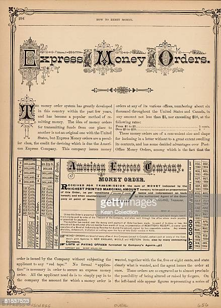The instructions for an American Express Company money order circa 1890