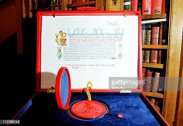 The 'Instrument of Consent' which is the Queen's historic formal consent to Prince William's forthcoming marriage to Catherine Middleton is displayed...