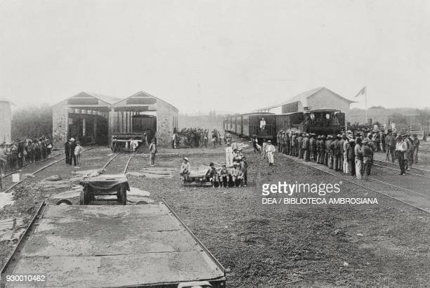 The insurgents occupying Barcelona train station Venezuela photograph by U Moriconi from L'Illustrazione Italiana Year XXX No 5 February 1 1903