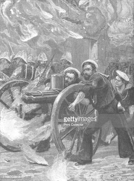 The Bluejackets clearing the streets of Alexandria' Episode of the AngloEgyptian War British sailors with a machine gun in the port city of...