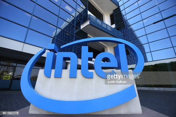 The Intel logo is displayed outside of the Intel headquarters on April 26, 2018 in Santa Clara, California. Intel will report first quarter earnings...