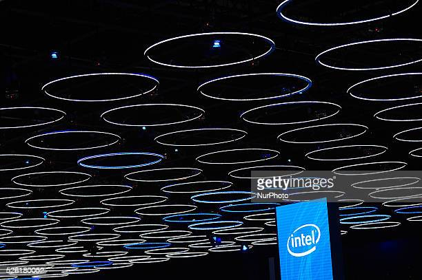 The Intel stand during the last day of Mobile World Congress in Barcelona 24th of February 2016