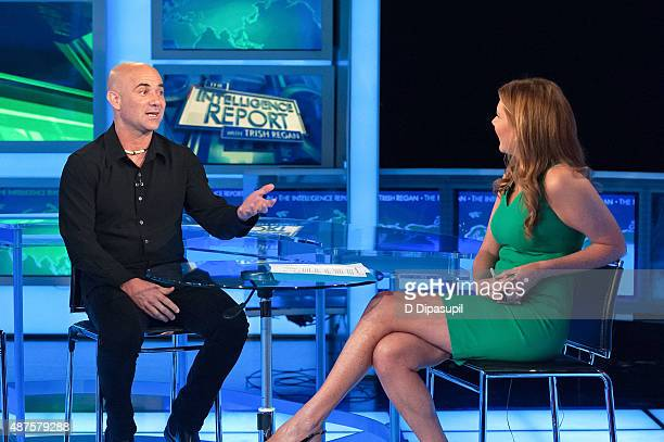 'The Intelligence Report' host Trish Regan interviews Andre Agassi during his visit to FOX Business Network at FOX Studios on September 10 2015 in...