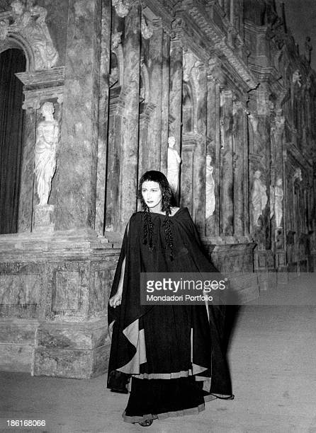 The intense and dramatic look of Italian actress Lilla Brignone, born Adelaide Brignone, on the stage of Teatro Olimpico of Vicenza, made by the...