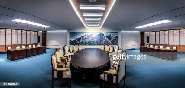 The Inter Korean Summit meeting roon is seen at the peace house on April 25 2018 in Panmunjom South Korea