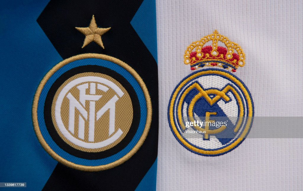 The Inter Milan and Real Madrid Club Badges : News Photo